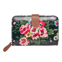 cath kidston Folk Flowers Folded Zip Wallet with Leather blue 442817