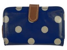 cath kidston folded zip wallet button spot royal blue