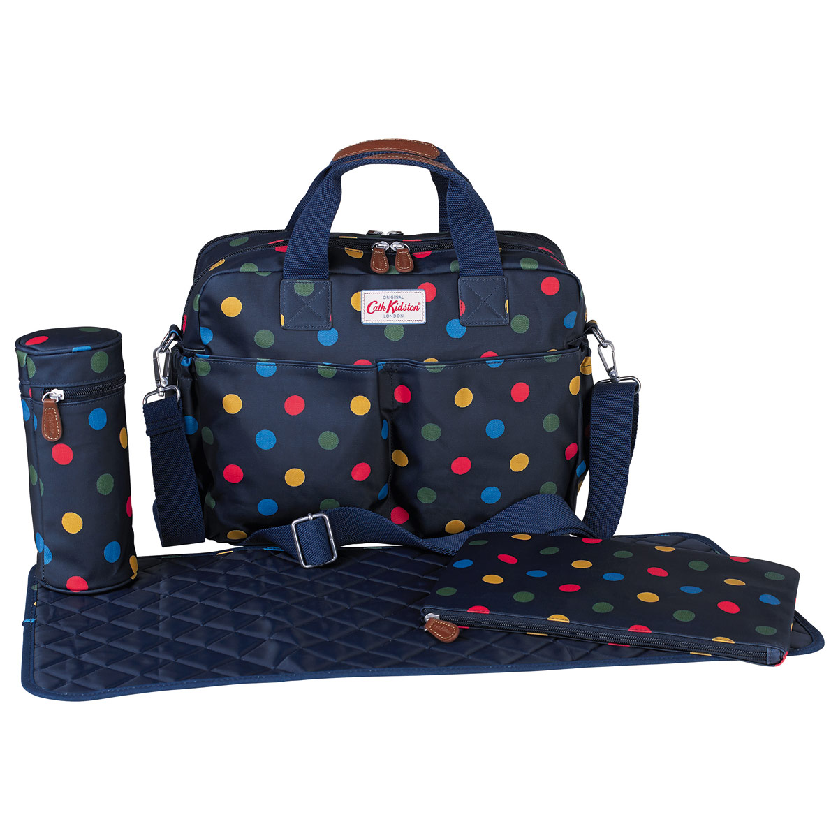 cath kidston button spot multi double pocket nappy bag penny royal gifts. Black Bedroom Furniture Sets. Home Design Ideas